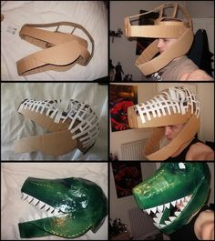 Dinosaur Mask Collage by on deviantART. Not great directions for mache or supplies, but good structure photos. Dinosaur Mask Collage by on deviantART. Not great directions for mache or supplies, but good structure photos. Cardboard Costume, Cardboard Mask, Cardboard Crafts, Dinosaur Mask, Dinosaur Crafts, Cute Dinosaur, Dinosaur Fancy Dress, Paper Dinosaur, Dinosaur Halloween Costume