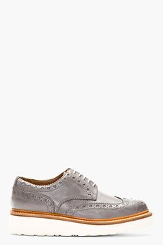Grenson Grey Leather Thick Sole Archie Brogue Shoes