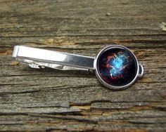 Nebula Blue Center Red Web Hubble Tie Clip-Silver-Gift Box-USA-Wedding-Keepsake-Man Gift-Groom-Groomsmen-Men-Science-Space-History-NASA by CynthiaCoolBeans on Etsy