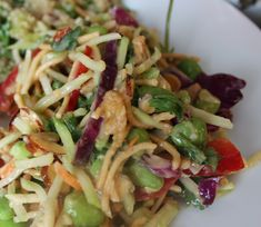 This Asian Broccoli Slaw with Peanut Dressing is so easy to make and delicious and healthy.  I made it for alunch with girlfriends and served it with Teriyaki Salmon, Mediterranean Salad and Pumpkin Soup.   Many recipes for asian coleslaw are made with regular cabbage but I decided to make this one with broccoli slaw mix.  I used almonds, …