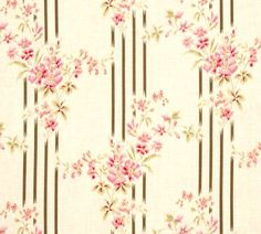 TRUE VINTAGE Striped Flowers Floral Roses in Pinks by FabricSweets, $5.50