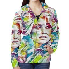 Dolly Cover Girl All Over Print Full Zip Hoodie for Women (Model H14)