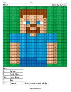 Minecraft Steve- Color by Number
