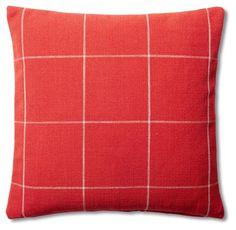 Windowpane 20x20 Cotton Pillow, Red