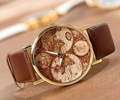 World Map Watch Fashion Wrist Watch Leather Watch Women watches Unisex Watches Men watches Retro Style Friendship Watch-N2061 on Etsy, $3.59