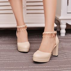 Rhinestone Sandals Ankle Straps Pumps Platform High-heeled Shoes Woman