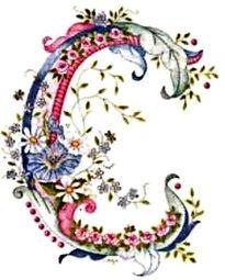 pink blue flower letter C Embroidery Alphabet, Embroidery Monogram, Silk Ribbon Embroidery, Hand Embroidery, Machine Embroidery, Fancy Letters, Floral Letters, Monogram Letters, Creative Lettering
