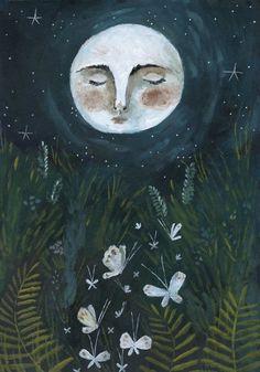 Pretty Art, Cute Art, Art Ancien, Arte Obscura, Fairytale Art, Moon Art, Whimsical Art, Aesthetic Art, Painting & Drawing