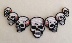 Seven Skulls Embroidered Patch Iron on Applique Metal Rocker Punk Goth   eBay