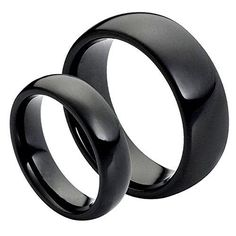 His & Her's 8MM/6MM Tungsten Carbide Black Enamel Classic Domed High Polish Wedding Band Ring Set, Men's, Size: Ladies Size 9.5 - Mens Size 11