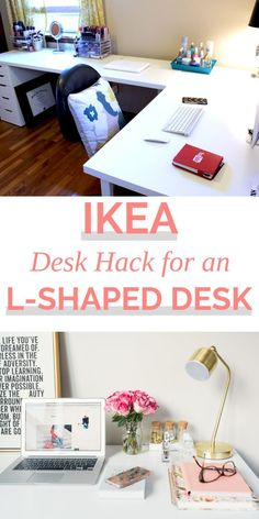 "I confidently title this post ""IKEA Desks & Office Makeover Part One"" becaus. - - Ikea DIY - The best IKEA hacks all in one place Ikea L Desk, Ikea Corner Desk, Ikea Linnmon Desk, Diy Desk, Ikea Office Hack, Hack Ikea, Office Hacks, Ikea Office Organization, Makeup Organization"