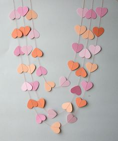 MA Salmon peach & pink wedding garland Heart paper garland Wedding decorations Peach wedding Wedding decor Bridal shower KCO-0038 by TransparentEsDecor