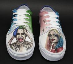 Custom Painted Shoes (Vans): Suicide Squad Joker & Harley Quinn Custom Painted Shoes Vans: Suicide Squad Joker & by JBoAirbrush Custom Vans Shoes, Custom Painted Shoes, Hand Painted Shoes, Custom Sneakers, Vans 106 Vulcanized, Converse, Sneaker Art, Hype Shoes, Fresh Shoes