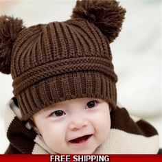 Cheap hat sun, Buy Quality hat club hats directly from China hat picture Suppliers: newborn baby photography props Cute Baby Kids Girl Boy Dual Balls Warm Winter Knitted Cap Hat baby bonnet kids hat topi bayi Baby Girl Hats, Girl With Hat, Baby Hats Knitting, Knitted Hats, Knitting Wool, Beanie Babies, Beanie Hats, Kids Beanies, Baby Beanies