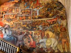 Image detail for -It houses many Diego Rivera murals. Here is one stairwell mural.
