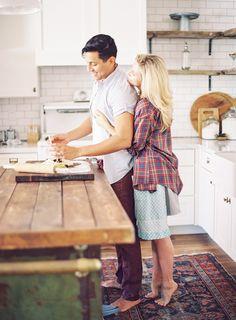 Kitchen Engagement Shoot - Melissa Jill Photography