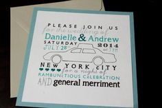 NYC Word Cloud Cab Wedding Invitation