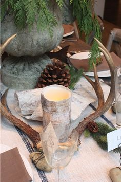 Birch bark wrapped around battery operated candles