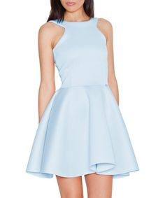Blue exposed shoulder skater dress Sale - Katrus Sale