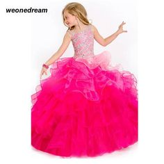 Gradient Performance Pageant Kids Dress Robes Flower Girl Dresses 2016 Flower Girl Dresses for Weddings Sapphire Girls Ball Gown