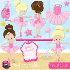 Ballet class set includes adorable ballerinas in tutus, tiaras, ballet slippers and more! This vector clipart set is suitable for invitation making, embroidery digitizing , scrapbook and all your crafting. Have fun creating wonderful crafts with these cliparts!