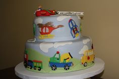 Shower cake for a baby boy.  All decorations made with fondant.