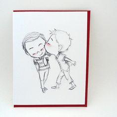 How About A Kiss Greeting Card por GenevieveSantos en Etsy