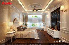 Nội thất phòng ngủ kiểu Pháp được bố trí hệ thống đèn hợp lý, cung cấp đầy đủ ánh sáng và tăng thêm vẻ đẹp lung linh cho gian phòng