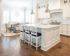 Island with White Bamboo Stools, Transitional, Kitchen