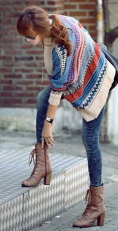 Love the sweater + boots