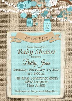 Burlap Rustic Baby Boy Shower Invitation by MissBlissInvitations