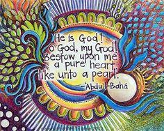 Art Print of a Bahai Prayer. $19.00, via Etsy.