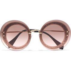767144a4e60 Miu Miu Round-frame glittered acetate and gold-tone sunglasses ( 410) ❤
