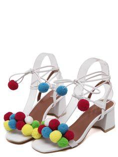 Pom Pom Sandalen, Bommelschuhe, Bommelsandalen, Sommerschuhe 2016, weiße Sandalen, weiße Schuhe