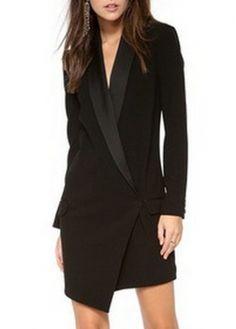 Enchanting Long Sleeve Turndown Collar Autumn Dress Black- and a black belt