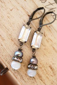 Tess. rhinestone dropbaroque pearl earrings by tiedupmemories