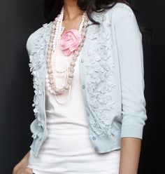 soft pastels...love the pink rose & pastel pearls