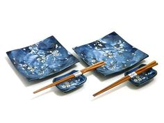 """So gorgeous. I will have these one way or another. lol. """"Indigo Dream Cherry Blossom Sushi Set for Two"""" Japanese dishes"""