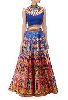 Deep blue & multicolored lehenga set by Neha Agarwal - Shop at Aza