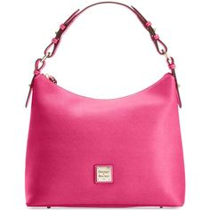 Dooney & Bourke Saffiano Hobo (665 MYR) ❤ liked on Polyvore featuring bags, handbags, shoulder bags, hot pink, hand bags, pink hobo purse, hobo purse, handbags purses and hobo hand bags