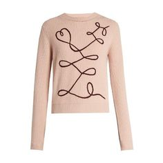Roksanda Vanua crew-neck wool and cashmere-blend sweater ($713) ❤ liked on Polyvore featuring tops, sweaters, light pink, pink top, wool sweaters, wool crewneck sweater, embellished sweaters and embellished tops