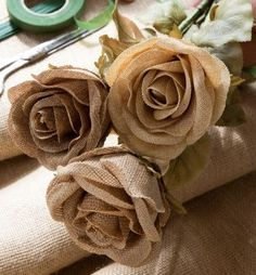 Our Burlap Tea Rose Bundles are perfect for adding a touch of rustic charm to your home. We love the look this gives to Fall displays! - Assortment of 3 colors - layers of burlap fabric petals with si