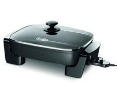 DeLonghi Electric Family Size Skillet BG45 by DeLonghi. $35.00. 1500 watts. Die cast aluminum. LED indicator. Glass cover. Made of die cast aluminum, skillet features a fully embedded heating element and temperature control with an LED indicator. Skillet has a vented temperature glass cover for easy cooking and viewing. 1500 watts. One-year warranty.