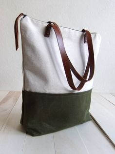 Large zippered Waxed Canvas Tote natural canvas Brown by metaphore