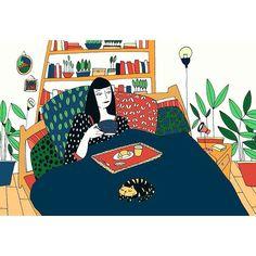 Petit moment  # #illustrator #indoorplants #motif #bedroom #home #cat #breakfast #illustration #☺️