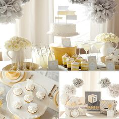 Sunshine Baby Shower. More sunny yellow than grey for sure but what a refreshing way to avoid the overused pink and blue!  (Or silver pom poms?)
