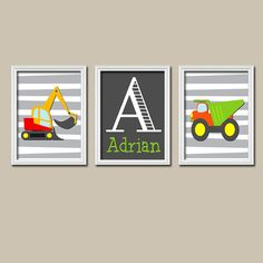 Construction Truck Custom Boy Monogram Name Initial Colorful Artwork Set of 3 Trio Prints WALL Baby Decor ART Child NURSERY Picture on Etsy, $28.00