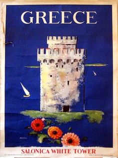 Buy online, view images and see past prices for Original Vintage Greek Travel Poster Salonica. Invaluable is the world's largest marketplace for art, antiques, and collectibles. Greece Tourism, Greece Travel, Tourism Poster, Poster Ads, Vintage Travel Posters, Vintage Ads, Old Posters, Greek Art, Time Travel