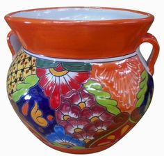 Large wide fat garden bowl with two side handles. Hand painted talavera made in Mexico for Arizona Pottery. Holds all landscaping materials. Talavera Pottery, Garden Planters, Beautiful Gardens, Terracotta, Flower Pots, Mexican, Hand Painted, Orange, Pattern