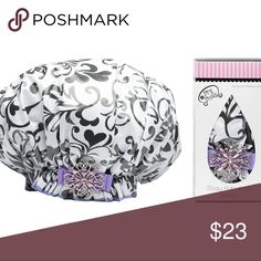 Designer shower cap I Heart You laminated shower cap. The elastic stays put and keeps your hair 100% dry. The longevity will blow your Diva mind! The shower caps last up to two to three years. Machine washable. Delicate cycle inside out cold air dry. The ribbon color and embellishments may vary from the photo shown. Other